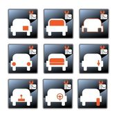 Nine vector icons with car-care centre symbolics