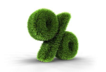 Photo pour Illustration 3D du pourcentage d'herbe, isolé sur fond blanc - image libre de droit