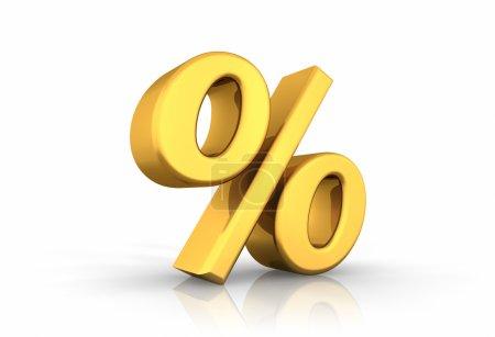 Photo pour Illustration 3D de pourcentage d'or, isolé sur fond blanc - image libre de droit