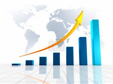 Photo pour Graphique de croissance avec flèche dorée pointant vers le haut, contre le monde - image libre de droit