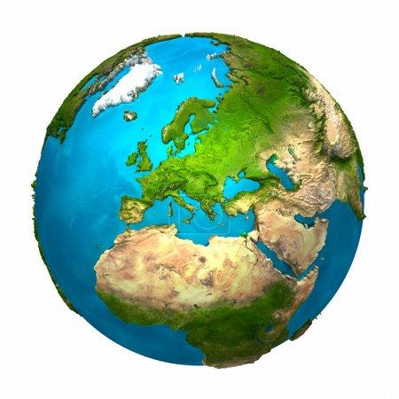 Photo pour Planète Terre - Europe - globe coloré avec une surface détaillée et réaliste, rendu 3D - image libre de droit