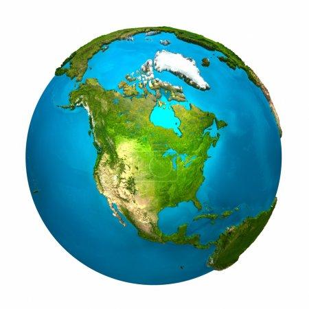 Photo pour Planète Terre - Amérique du Nord - globe coloré avec une surface détaillée et réaliste, rendu 3D - image libre de droit