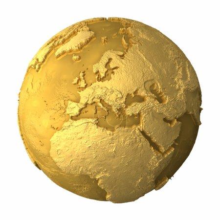 Photo pour Globe d'or - terre métallique avec topographie réaliste - europe, rendu 3d - image libre de droit