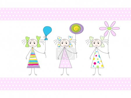 Illustration pour Picture of three girls holding ballon, candy and flower - image libre de droit