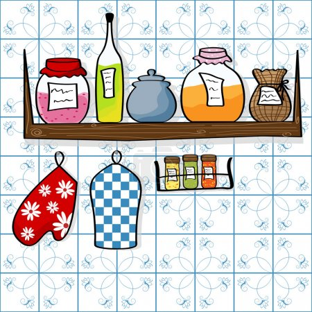 Illustration for Vector picture of kitchen shelf with bottles and jam jars - Royalty Free Image