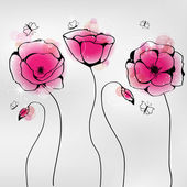 Vector pictures with pink poppy flowers and butterflies