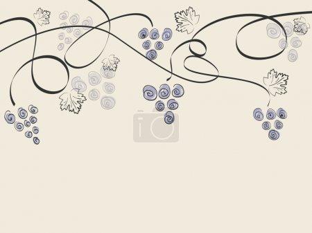 Illustration pour Fond vintage vectoriel avec raisins et espace pour votre texte - image libre de droit