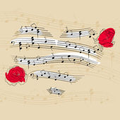 Vector picture with music heart and roses