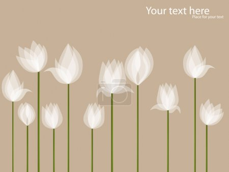 Illustration for Vector picture with white tulips on black background - Royalty Free Image