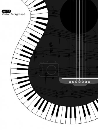 Illustration for Vector white and black musical background - Royalty Free Image