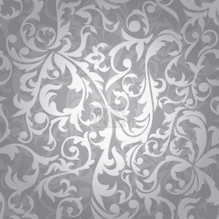 Illustration pour Abstract seamless silver floral background vector illustration - image libre de droit
