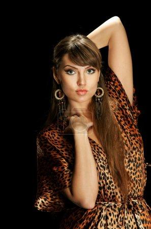 Sexy girl in leopard dress