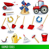 Set of different farmer tools and equipment along with a tractor and a mill