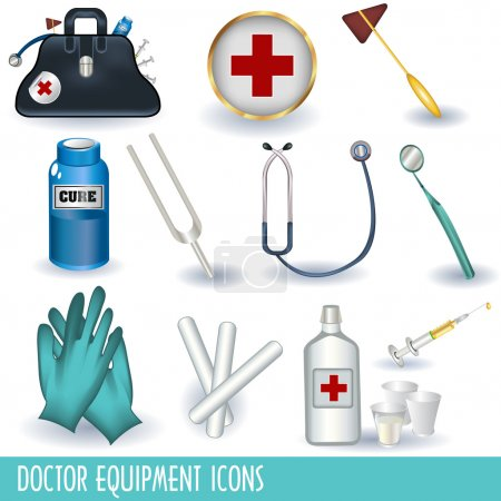 Illustration for Set of 12 different doctor equipment icons separately grouped and isolated on white background. - Royalty Free Image