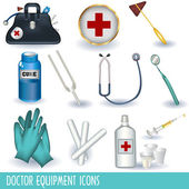 Doctor equipment icons