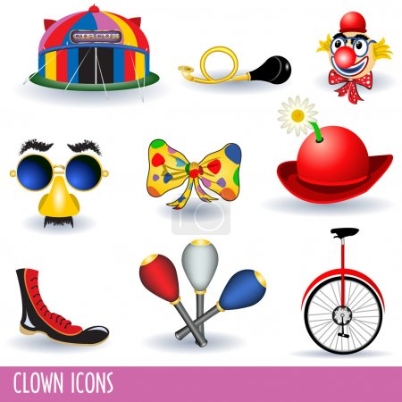 Illustration for Set of nine different clown icons. - Royalty Free Image