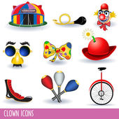 Set of nine different clown icons