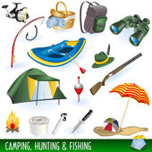 A collection of different illustrations : camping hunting and fishing images
