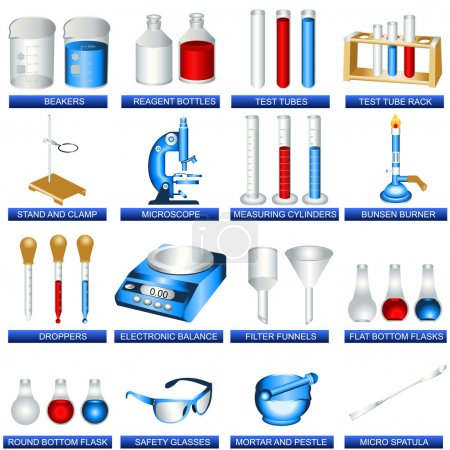 Illustration for A collection of laboratory tools - vector illustration. - Royalty Free Image