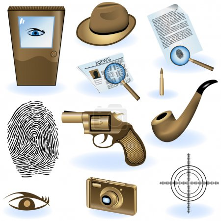 Illustration for A collection of private detective icons - vector illustration. - Royalty Free Image
