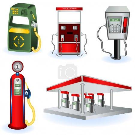 Illustration pour Une collection de cinq icônes différentes de stations-service . - image libre de droit
