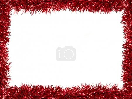 Photo for Christmas Tinsel as a border isolated against a white background - Royalty Free Image
