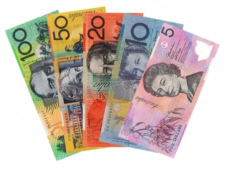 Australian currency isolated against a white backg...