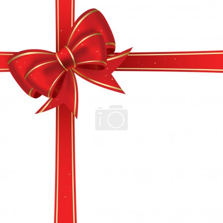 Illustration for Red christmas bow on a white background - Royalty Free Image