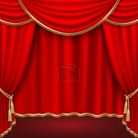 Illustration for Theater stage with red curtain.Clipping Mask - Royalty Free Image