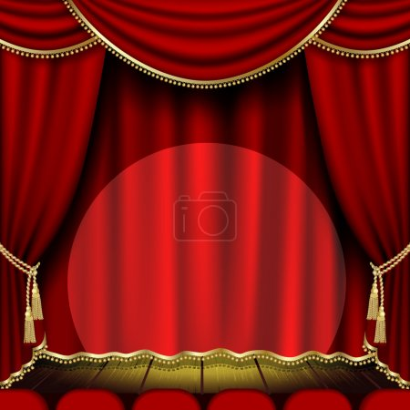 Illustration for Theatrical mask on a red background. Mesh. Clipping Mask - Royalty Free Image