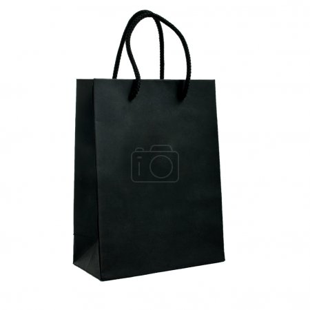 Photo pour Sac noir en papier avec poignées sur fond blanc - image libre de droit