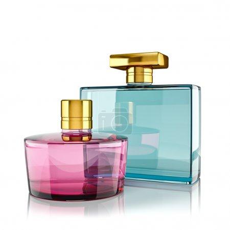 Photo pour Deux flacons de parfum aux reflets. rendu 3D. - image libre de droit