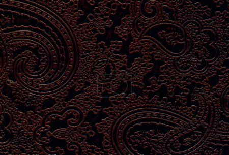 Brown leather texture with floral pattern