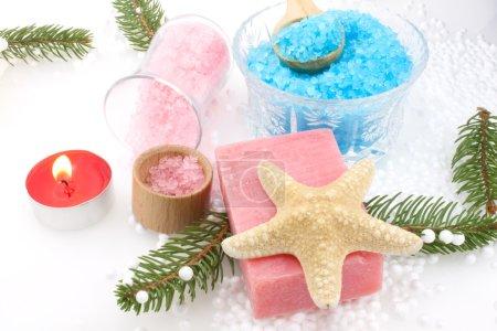 Photo pour Réglage de Noël de produits - sels de bain et savon de raisins - soins du corps. - image libre de droit
