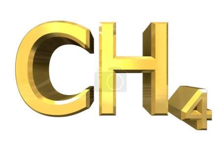 Photo for 3d made - chemistry formulas in Gold of Methane - Royalty Free Image