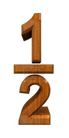 Photo pour 1-2 un quart en bois - fabriqué en 3D - image libre de droit