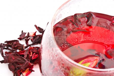 Photo for Dry tea Hibiscus tea brewed on the background - Royalty Free Image