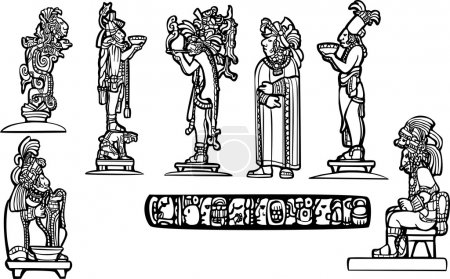 Black and white mayan spot image group.