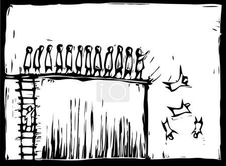 Illustration pour Grimper une échelle de style gravure sur bois et être poussé sur une falaise . - image libre de droit