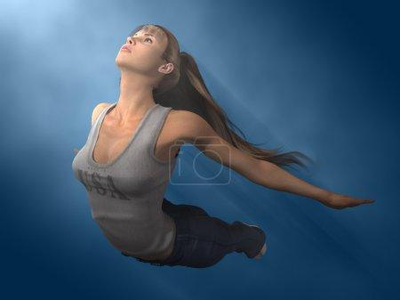 Photo pour Out of the Box 3 - Une fille s'envole de son ancien monde vers un nouveau - Illustration 3D avec une peinture - image libre de droit