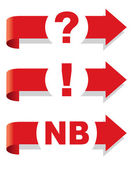 Question exclamation and Nota Bene symbol Arrow