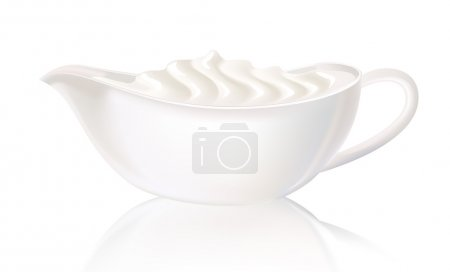 White sauceboat with sour cream. Vector illustration.