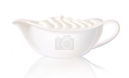 Illustration pour Sauceboat blanc à la crème sure. Illustration vectorielle . - image libre de droit