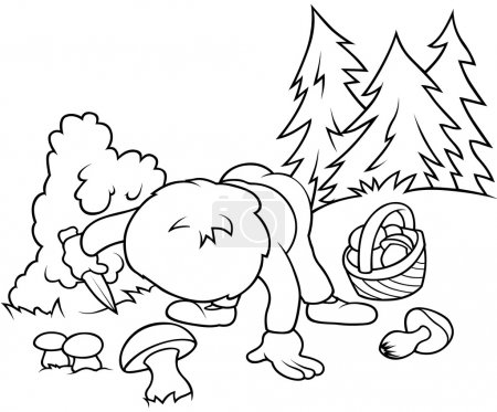 Boy Picking Mushrooms