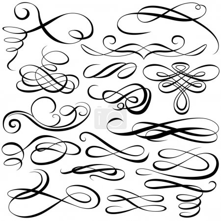 Illustration for Calligraphic elements - black illustration, vector - Royalty Free Image