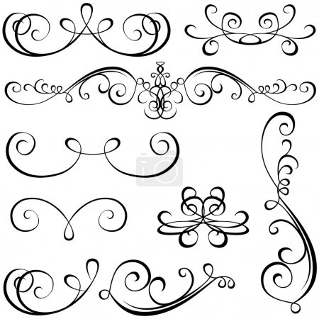 Illustration for Calligraphic elements - black design elements, illustration vector - Royalty Free Image