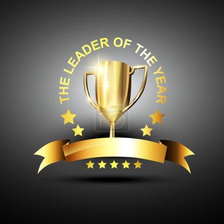 Illustration pour Trophée vectoriel en couleur dorée dans le thème leader des affaires - image libre de droit
