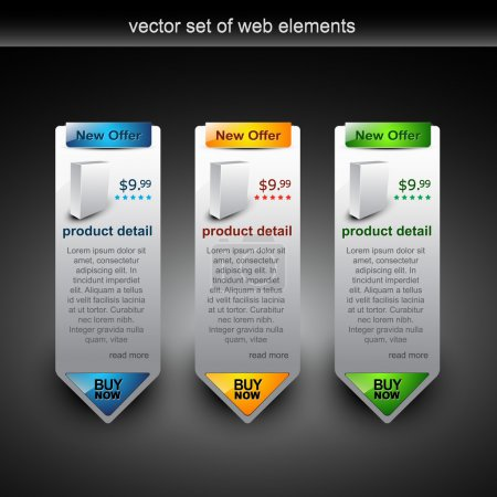Illustration for Web style elements with showing product for sale - Royalty Free Image