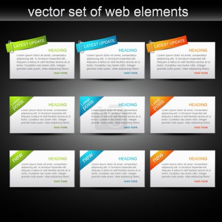 Vector set of web elements