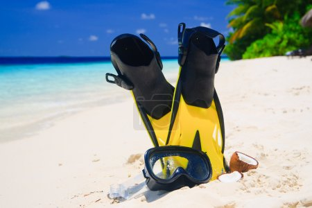 Photo for Snorekl equipment on white sand beach at Maldives - Royalty Free Image